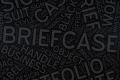 Brifecase, art de nuage de Word sur le tableau noir Photos stock