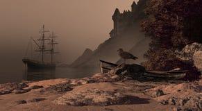Brig espagnol et château Photo libre de droits
