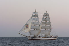 Brig Fryderyk Chopin. Sailing in evening light. Baltic sea. The Tall Ships' Races 2013 Stock Photos