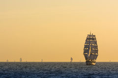 Brig Fryderyk Chopin sailing in evening light. Baltic sea. The Tall Ships' Races 2013 Royalty Free Stock Photos