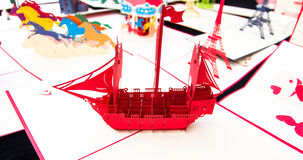 Brig. Made of red paper royalty free stock photo