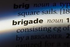 Brigade. Word in a dictionary.  concept Stock Images