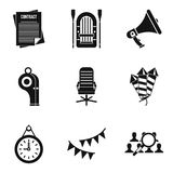 Brigade icons set, simple style. Brigade icons set. Simple set of 9 brigade vector icons for web isolated on white background Royalty Free Stock Photo