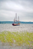 Brigantine. Sailing-vessel on a lake, being anchored stock images