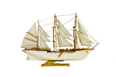Brigantine. Isolated object transport model ship royalty free stock photo