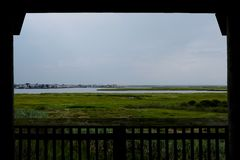 Brigantine Bay Marsh and Tidal Wetlands on New Jersey Coast. Brigantine Bay and marsh and tidal wetlands with Brigantine, New Jersey, in the background, seen stock image