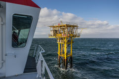 Brigantine BG unmanned gas platform view from an attending ships. BRIGANTINE BG PLATFORM, NORTH SEA - 2 MARCH - Located in the Southern North Sea, the Brigantine stock images