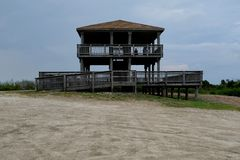 Brigantine North End Observation Tower. Observation tower at north end of Brigantine Island, New Jersey, Atlantic Ocean shore stock image