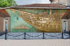 Brigantine panels in Feodosia Stock Images