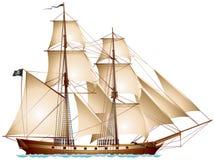 Brigantine piraatschip Royalty-vrije Stock Afbeelding