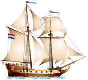 Brigantine sailing vessel. Two-masted ship with a totality of sails under Dutch flag color vector illustration Royalty Free Stock Photos