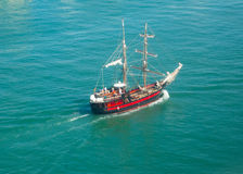 Brigantine in sea. Brigantine in open sea in sunny day, top angle royalty free stock photos