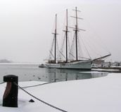Brigantine. Winter. Brigantine in Toronto harbour, Canada. Winter time royalty free stock image