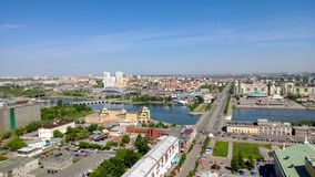 Brigde nad Miass rzeką w Chelyabinsk mieście od above Zdjęcia Royalty Free