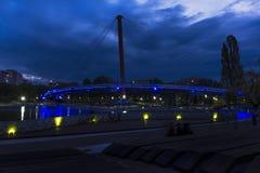 Bridge at night in Bucharest Stock Image