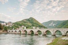 The brigde on River Drina. The old historic bridge in Visegrad, Bosna and Hercegovina Stock Image