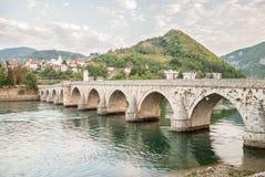 The brigde on River Drina. In Visegrad, Serbia royalty free stock photo
