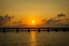 Brigde sunset Stock Images