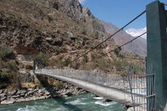 Brige of Inca Trail. Green iron-wood bridge the start of Inca Trail in Peru Stock Photography