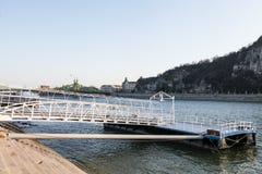 Brige till ett skepp på Donau Arkivbilder