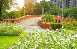 Brige y lago concretos anaranjados de la curva del arco en un jardín hermoso, pétalos indios del oeste frescos del rosa y blancos fotografía de archivo