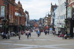 Briggate shoppinggata i Leeds Royaltyfri Fotografi