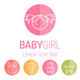 Brigh colorful round linear icons for children Royalty Free Stock Image