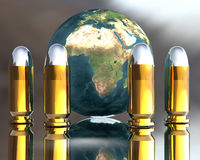 Bright 3D golden. And silver bullets with globe Stock Photo
