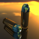 Bright 3D golden bullet Royalty Free Stock Photo