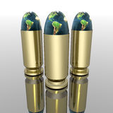 Bright 3D golden bullet Royalty Free Stock Photography