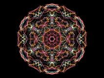 Bright abstarct flame mandala flower in red tones, ornamental ro. Und pattern on black background stock illustration