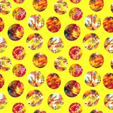 Bright abstract acrylic circles on a yellow background royalty free illustration