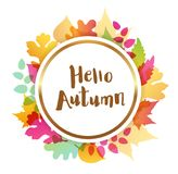Abstract autumn round banner. Bright abstract autumn banner with falling leaves. Hello autumn lettering Royalty Free Stock Photo