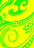 Bright abstract background. A colorful yellow and green background with circles, curls and stars royalty free illustration