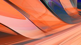 Bright abstract background. 3d illustration. Beautiful curved background from a glowing glass Stock Image