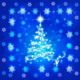 Abstract background with christmas tree and stars. Illustration in blue and white colors. Bright abstract background with christmas tree and stars. Illustration vector illustration