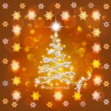 Abstract background with christmas tree and stars. Illustration in gold and white colors. Bright abstract background with christmas tree and stars. Illustration stock illustration