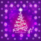 Abstract background with christmas tree and stars. Illustration in lilac and white colors. Bright abstract background with christmas tree and stars royalty free illustration