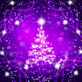 Abstract background with christmas tree and stars. Illustration in lilac and white colors. Bright abstract background with christmas tree and stars vector illustration