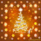 Abstract background with christmas tree and stars. Vector Illustration in gold and white colors. Bright abstract background with christmas tree and stars royalty free illustration