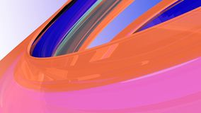 Bright abstract background. 3d illustration. Beautiful curved background from a glowing glass Royalty Free Stock Images