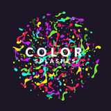 Bright abstract background with explosion of colored splashes. Vector illustration. In flat minimalistic style Royalty Free Stock Photos