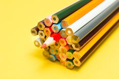Bright abstract background of multi-colored pencils stock photography