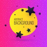 Bright abstract background with stars and round in a minimalist style. Bright abstract background with objects, lines and round in a minimalist style. Vector vector illustration