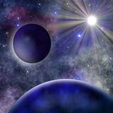 Bright abstract celestial landscape with planets, collage Royalty Free Stock Photography