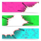 Bright abstract colorful pop art style explosion design headers Stock Photo