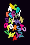 Bright abstract comic font. Vector alphabet Stock Photography