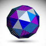 Bright abstract 3D rounded vector contrast figure constructed fr. Om striped isosceles triangles. Graffiti colorful geometric element Stock Photography
