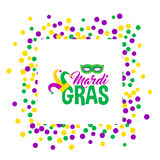 Bright abstract dot mardi gras pattern. On white background. Vector illustration for holiday design. Carnival festival colorful bead backdrop, border, frame Royalty Free Stock Photos
