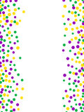 Bright abstract dot mardi gras pattern. On white background. Vector illustration for holiday design. Carnival festival colorful bead backdrop, border, frame Stock Images